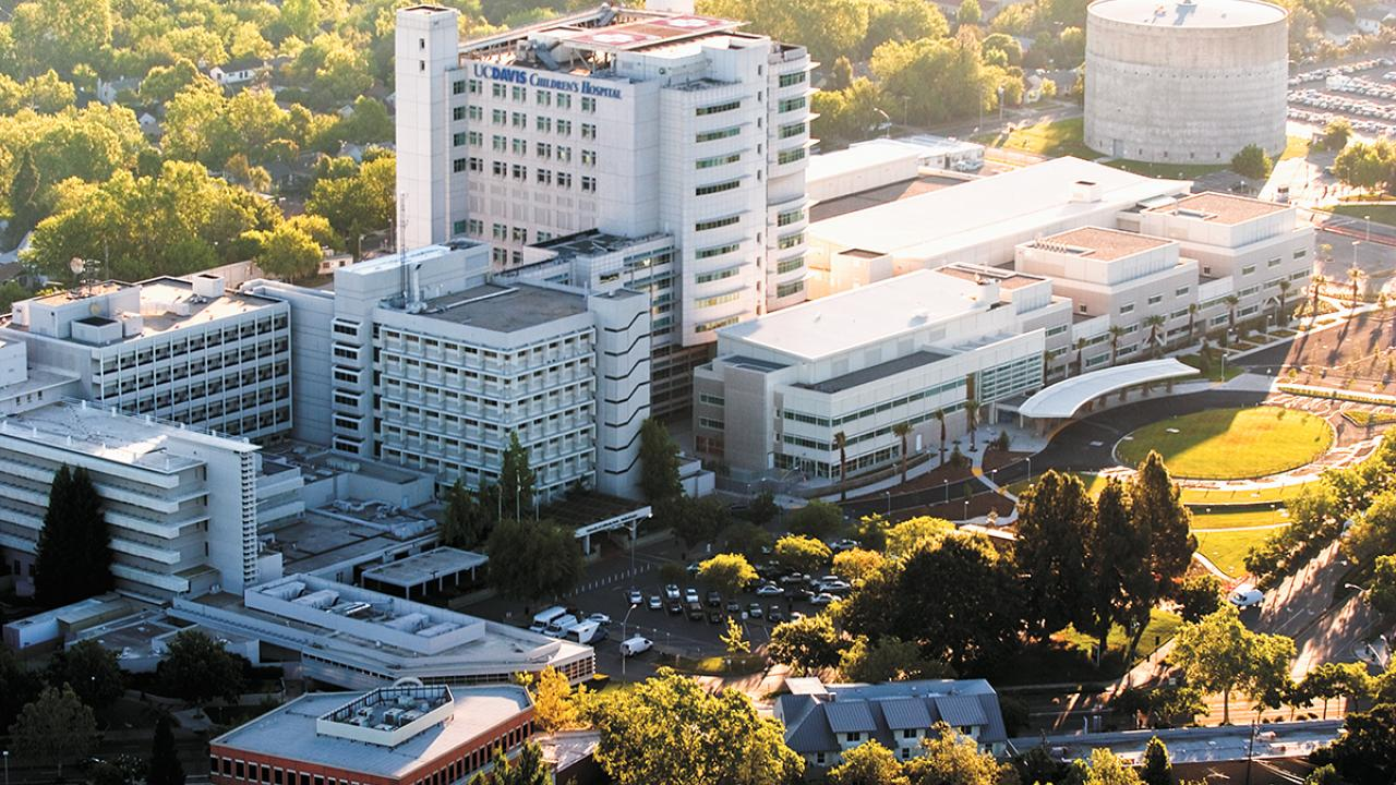 aerial view of uc davis health campus and medical center