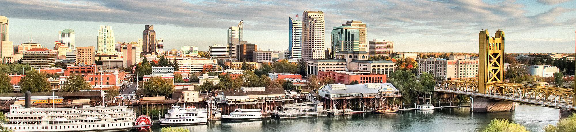 view across the river to downtown sacramento
